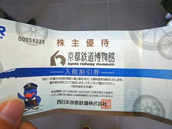 【京都鉄道博物館】料金《株主優待券》